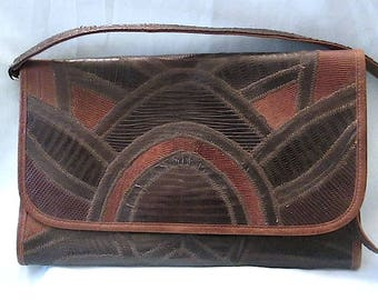 PRICE DROP! Vintage 1970's Varon Snakeskin/Leather Handbag-Clutch ~ Envelope Style with Convertible Strap