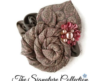 Flower Lapel Pins - Gray and Pink - Floral Brooch - From Silk Neckties