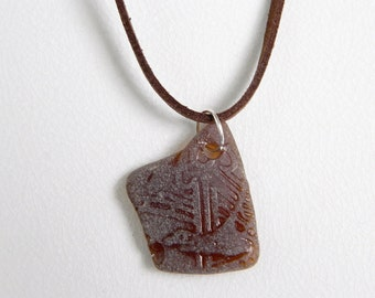 SURFER Suede Cord Necklace, Beer Bottle Sea Glass Pendant, Amber Brown Beach Glass, Chesapeake Bay Seaglass