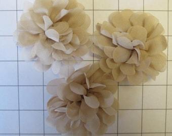 """Set of 3 2.75"""" Beige Chiffon Flowers Embellishments Dance Costumes! (I-8)"""
