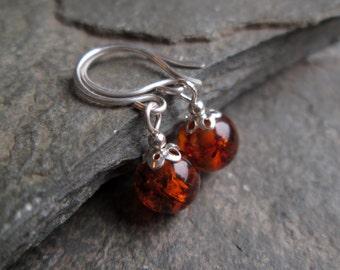 Amber Earrings - Amber drop earrings, dangle earrings, real amber jewellery, amber jewelry, silver drop earrings, gifts for her