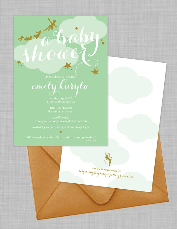 Customizable Peter Pan Baby Shower Invitations Download