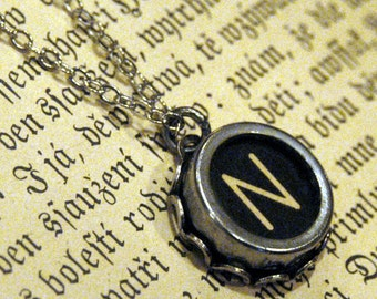Vintage Typewriter Key Necklace- N