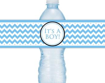 It's A Boy Water Bottle Labels, INSTANT DOWNLOAD - It's A Boy Blue Chevron Water Bottle label, you print, you cut, DIY water bottle labels