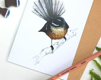 Fantail - Piwakawaka folded card from the New Zealand native birds series by Emilie Geant, from original watercolor painting