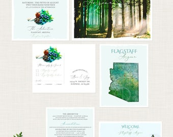 Rustic Woodland Arizona Flagstaff AZ pine tree illustrated watercolor destination wedding invitation Mountains Wedding - Deposit Payment
