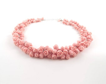 Porcelain Necklace Dusty Pink Coral Roses Flowers, Silver Statement Bridal Necklace for Wedding Day , Handmade Ceramic Porcelain Jewelr