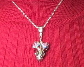 Royal Heart Floral Lampwork Pendent Necklace