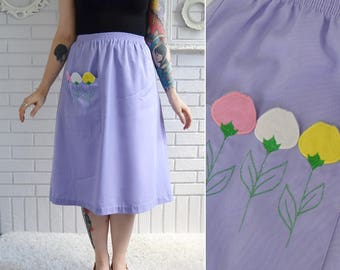 Vintage Light Purple Skirt with Embroidered Tulip Pocket and Elastic Waist Size Small