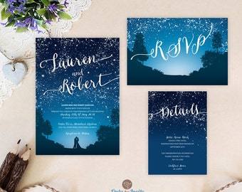 Starry Night Wedding Invitation Set | Blue Mountain Wedding Invitations  Printed | Cheap Wedding Sets: Invitation, RSVP, Enclosure Card