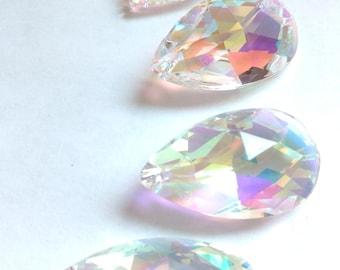 5 Iridescent Lead Crystal Teardrops 50mm Chandelier Prisms AB