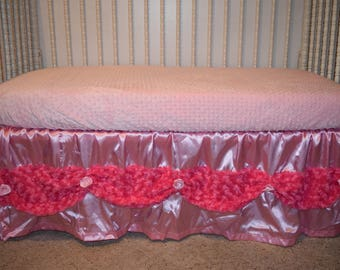 One Cuddle Rose & Satin Fabric Crib Bed Skirt