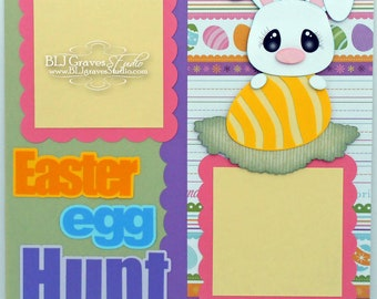 Easter Egg Hunt Bunny Scrapbook Page Boy Girl Baby 12x12 Layout Paper Piecing Handmade 40