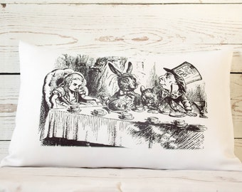 """Hatter's Teaparty  - 12 x 18"""" Lumbar Cushion Pillow Cover Alice In Wonderland style - UK Handmade"""