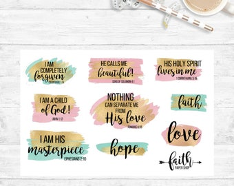 Christian Stickers perfect for your Planner or Bible Journaling.  Fits Happy Planner, Erin Condren, Filofax, Travelers Notebook and more!