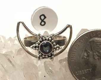 Mystic Topaz Moon Ring, Size 8