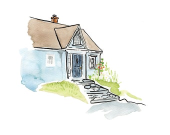 "Blue House on the Hill, Nova Scotia, Kitchen Art - Limited Edition Art Print Watercolour -  8"" x 10"", Kat Frick Miller"