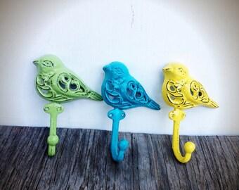 BOLD ornate bird wall hook set // canary yellow pistachio green seaside aqua blue // towel coat jewelry hook // shabby chic rustic woodland