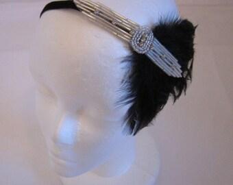 Rhinestone flapper Gatsby Headband, great gatsby 1920s Wedding headband Crystal Fascinator Wedding Bridal Headband 1920s Flapper headband