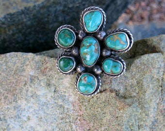 VINTAGE NAVAJO CLUSTER Ring, Royston Turquoise, Size 6, Sterling Silver