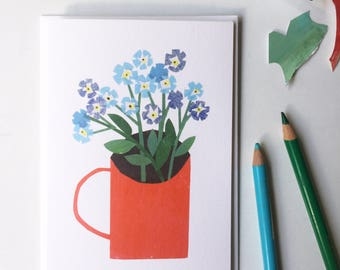 Forget-Me-Nots in a Red Cup