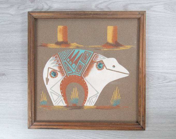 Southwest Framed Indian Fetish Bear Sand Art Painting - Navajo Native American - Brings Good Luck to a Protector from a Person of Evil