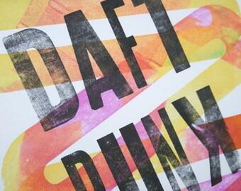 Daft Punk Inspired Letter Press Music Poster - Framed 12x18 Original