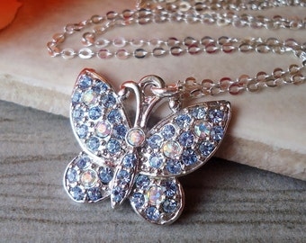Butterfly Pendant Necklace.Jeweled.Sapphire Crystal.Dainty.Sterling Silver Chain.Rhinestone.Bridal.Bridesmaid.Blue.White.Vintage.Handmade.