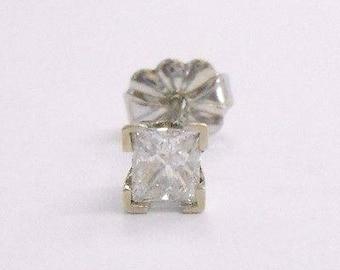 Diamond Earring, Diamond Stud, Diamond Earrings, 14k White Gold Princess Cut .20 Carat Diamond Single Stud Post Earring #726