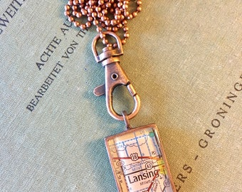Lansing Michigan Map Necklace,  Copper Rectangle Map Pendant, Michigan Map Pendant