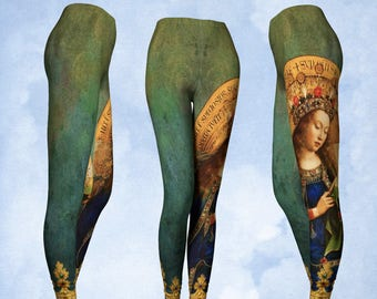 Leggings, Ghent Altarpiece, Mary leggings, pants, art to wear, yoga leggings, yoga pants, Catholic art, art fabric, medieval leggings, gift