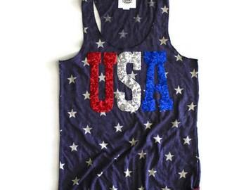 SEQUIN USA Star 4th of July Tank Shirt. 4th of July Shirt Womens. Stars Stripes. Fourth of July Shirt. America Tee. USA Tank. July 4th Tank