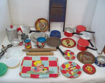 Huge Lot Over 50 pieces of Metal, Glass Plastic Children's Dishes 1950's Tin Litho Children's Play Dish Set Free Shipping G10