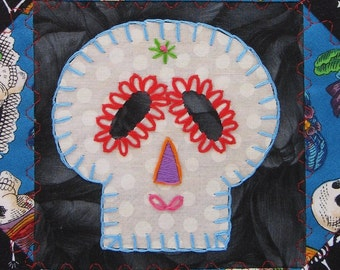 Sugar Skull Quilt,  Blue Day of the Dead