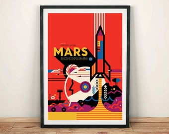 MARS POSTER: NASA Space Art Print by Invisible Creature