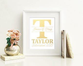 Last Name Intial Marriage Wedding Proposal Gold Foil Print FREE US SHIPPING