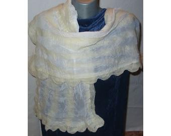 Nuno Felt Scarf,Wrap Scarf,Woman White Scarf,Woman Shawl,AU Wool Shawl,European Art Deco,Nuno Felt Skarf,Felt Scarf,Handmade
