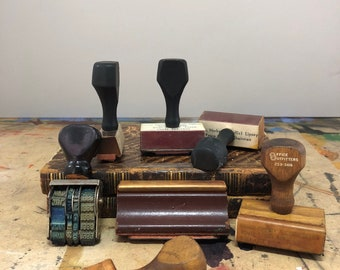 Collection of Vintage Rubber Stamps - Business and Photo Shop Stamp Collection