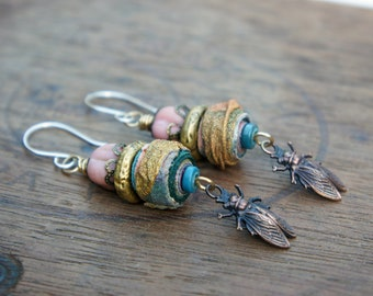 Unique Artisan Earrings with Fabric Beads, Rustic Glass Melons and French Brass Fly Stampings
