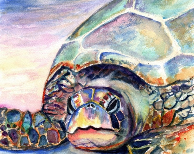 sea turtle 8x10 art print nursery decor hawaiian paintings hawaii art green sea turtles beach decor sea turtle painting beach lovers gift
