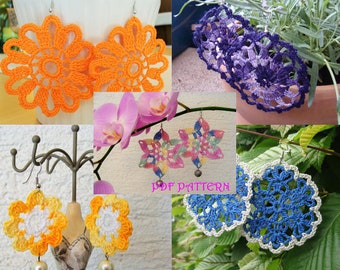 FIVE Crochet Flower Earrings PDF Patterns
