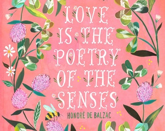 Poetry of The Senses | Bee and Clover Art Print | Floral Wall Art | Katie Daisy | 8x10 | 11x14