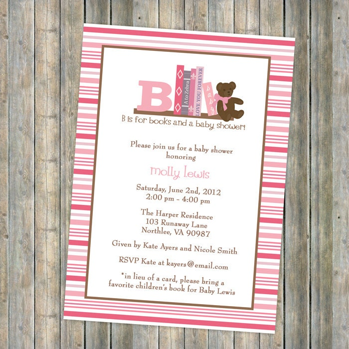 Book Baby Shower Invitation in lieu of a card please bring a