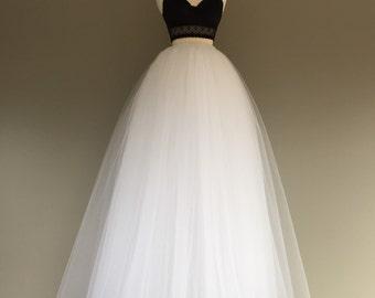 Floor length tulle skirt, white tulle skirt, adult tulle skirt, tulle wedding dress,ANY COLOR