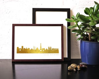 Love PARIS Forever Poster, Paris print gold foil, golden Paris skyline poster, Paris gold artwork, Honeymoon, illustration in gold, 44spaces