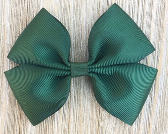 Dark Green Stacked Grosgrain Hairbow for Girls Back to School everyday wear on Barrette or clip or baby headband