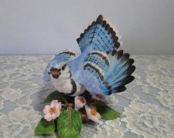 SALE Lenox Blue Jay Figurine 1986 Garden Bird Collection Hand Painted Fine Porcelain