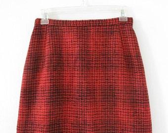 Vintage Red & Black Wool Mini-Skirt