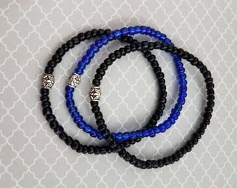 Handmade Set of 3 Thin Blue Line Bracelets with Black and Blue Glass Beads on a Stretchy Bracelet