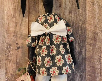 Primitive Easter Bunny Black Doll Folk Art Farmhouse Rabbit
